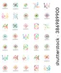 set of vector linear logotypes  ... | Shutterstock .eps vector #386989900