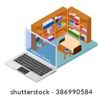 online library. a web site with ... | Shutterstock .eps vector #386990584