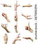 set of female hands gestures ... | Shutterstock . vector #387000394