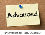 Small photo of Advanced - adhesive label pinned on bulletin board - horizontal image