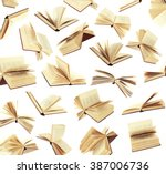 many flying books as background ... | Shutterstock . vector #387006736