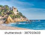rugged rocky coast  lloret de... | Shutterstock . vector #387010633