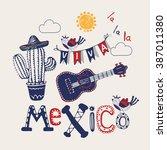mexico set hand drawn vector...   Shutterstock .eps vector #387011380