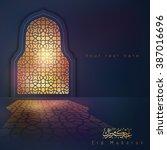 eid mubarak greeting background ... | Shutterstock .eps vector #387016696