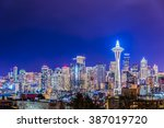 scenic view Seattle cityscape in the night time,Washington,USA. - stock photo
