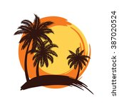 tropical palm trees silhouettes ... | Shutterstock .eps vector #387020524
