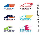 truck car express delivery... | Shutterstock .eps vector #387021586