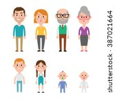 flat vector caucasian family... | Shutterstock .eps vector #387021664