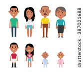 flat vector hispanic family... | Shutterstock .eps vector #387021688