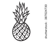 pineapple vector hand drawn... | Shutterstock .eps vector #387024730