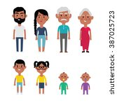 flat vector indian family... | Shutterstock .eps vector #387025723