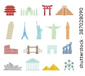 world landmarks icons  abstract ... | Shutterstock .eps vector #387028090