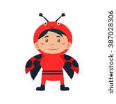 child wearing costume of... | Shutterstock .eps vector #387028306