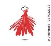 a  dress red mannequin... | Shutterstock .eps vector #387032113