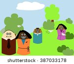 happy multiracial family... | Shutterstock .eps vector #387033178