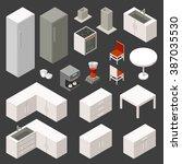 vector isometric kitchen set  | Shutterstock .eps vector #387035530
