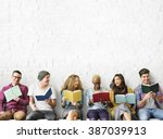 diverse people reading books... | Shutterstock . vector #387039913