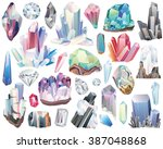 Minerals, Crystals, Gems, and Diamonds Isolated Vector Set