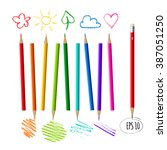 colorful crayons of all colors... | Shutterstock .eps vector #387051250