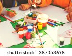 children draw with parents... | Shutterstock . vector #387053698