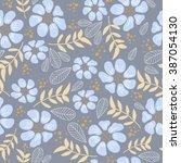 vector seamless cute flower...   Shutterstock .eps vector #387054130