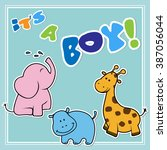 greeting card it's a boy vector ... | Shutterstock .eps vector #387056044