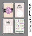 template. set of trendy posters ... | Shutterstock .eps vector #387056830