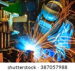 worker with protective mask... | Shutterstock . vector #387057988