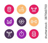 fitness line icons  thick...   Shutterstock .eps vector #387060703