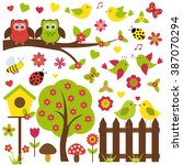 vector set of spring theme.... | Shutterstock .eps vector #387070294