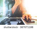 businessman working with... | Shutterstock . vector #387071188