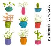 set of green indoor plants in... | Shutterstock . vector #387071590