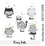 cute cat illustration set. for...