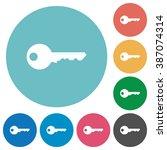 flat key icon set on round...