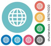 flat globe icon set on round...