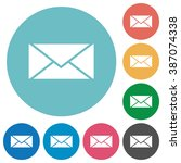 flat envelope icon set on round ...