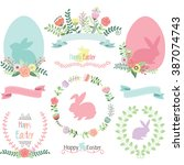 easter clip art.happy easter... | Shutterstock .eps vector #387074743