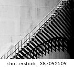 heavy shadow of stairway on old ... | Shutterstock . vector #387092509