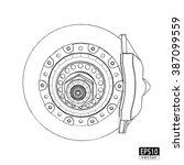 brake discs with calipers  ... | Shutterstock .eps vector #387099559