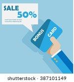 hand with bonus card vector... | Shutterstock .eps vector #387101149