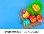easter eggs in beautiful and... | Shutterstock . vector #387102364