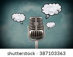 retro style microphone with...   Shutterstock . vector #387103363
