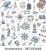 seamless background hand drawn... | Shutterstock .eps vector #387103468