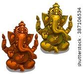 statuette of hindu god ganesha. ... | Shutterstock .eps vector #387106534