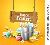 easter greeting card with... | Shutterstock .eps vector #387109750