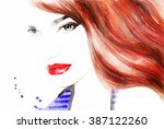woman portrait .abstract... | Shutterstock . vector #387122260