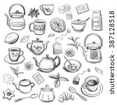 Stock vector collection of hand drawn sketches on the theme of tea teapots cups other utensils spices and 387128518