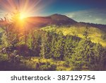 summer mountain landscape at... | Shutterstock . vector #387129754