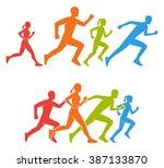 flat vector figures marathoner. ... | Shutterstock .eps vector #387133870