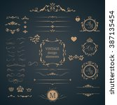 vintage set of decorative... | Shutterstock . vector #387135454